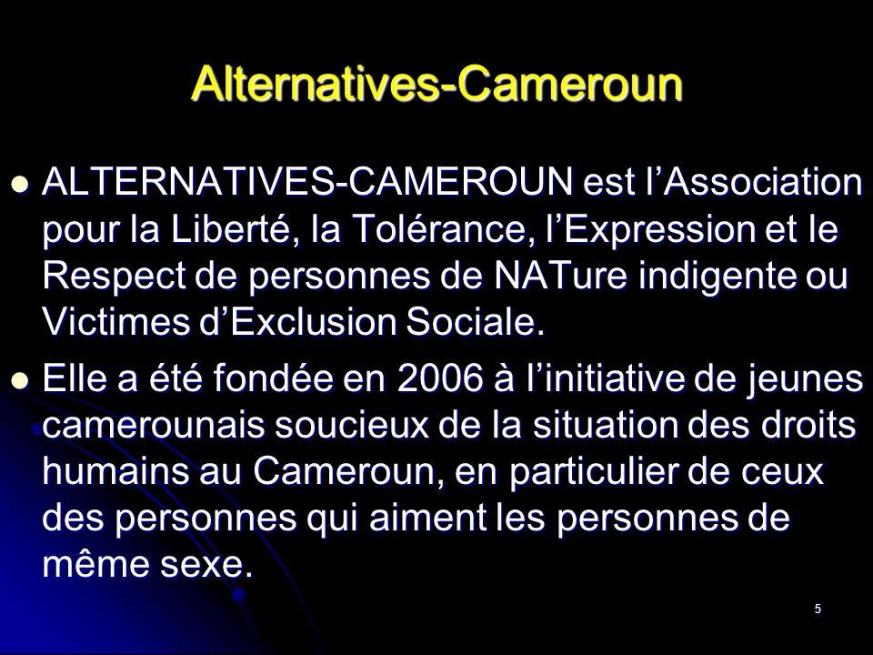 6 Alternatives-Cameroun Notre vision est de former une société camerounaise valorisée et forte, démocratique et tolérante, revendicatrice des droits individuels, sociaux ou économiques, dynamique et auto-promotrice.
