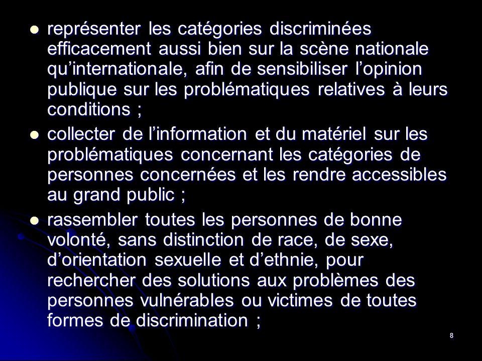 8 collecter de linformation et du matériel sur les problématiques concernant les catégories de personnes concernées et les rendre accessibles au grand