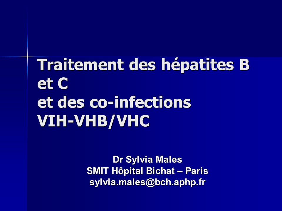 Buts (théoriques) du traitement Suppression virale (arret sinon diminution de la réplication du VHB) Suppression virale (arret sinon diminution de la réplication du VHB) Limitation des lésions hépatiques et de la progression de la fibrose Limitation des lésions hépatiques et de la progression de la fibrose Limitation des complications (CHC), de la morbidité et de la mortalité.