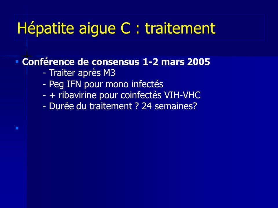 Conférence de consensus 1-2 mars 2005 - Traiter après M3 - Peg IFN pour mono infectés - + ribavirine pour coinfectés VIH-VHC - Durée du traitement .