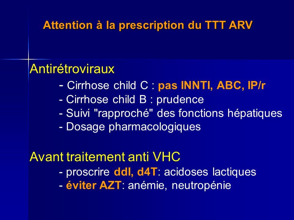 Attention à la prescription du TTT ARV Antirétroviraux - Cirrhose child C : pas INNTI, ABC, IP/r - Cirrhose child B : prudence - Suivi rapproché des fonctions hépatiques - Dosage pharmacologiques Avant traitement anti VHC - proscrire ddI, d4T: acidoses lactiques - éviter AZT: anémie, neutropénie