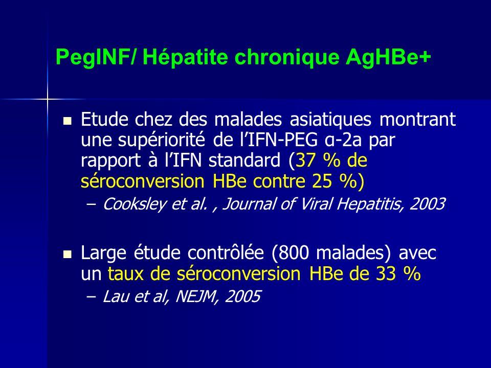 PegINF/ Hépatite chronique AgHBe+ Etude chez des malades asiatiques montrant une supériorité de lIFN-PEG α-2a par rapport à lIFN standard (37 % de sér