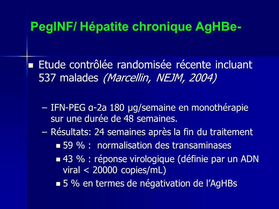 PegINF/ Hépatite chronique AgHBe- Etude contrôlée randomisée récente incluant 537 malades (Marcellin, NEJM, 2004) – –IFN-PEG α-2a 180 μg/semaine en monothérapie sur une durée de 48 semaines.