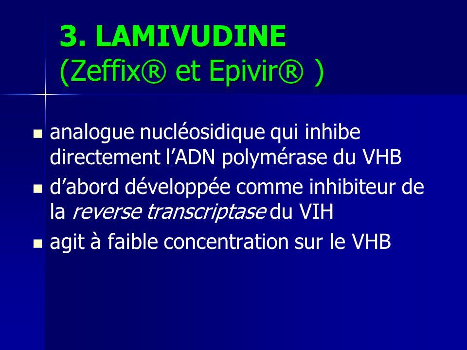 3. LAMIVUDINE (Zeffix® et Epivir® ) analogue nucléosidique qui inhibe directement lADN polymérase du VHB dabord développée comme inhibiteur de la reve