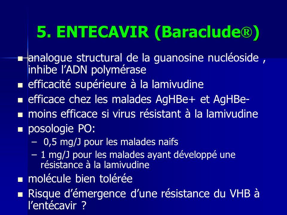 5. ENTECAVIR (Baraclude ® ) analogue structural de la guanosine nucléoside, inhibe lADN polymérase efficacité supérieure à la lamivudine efficace chez