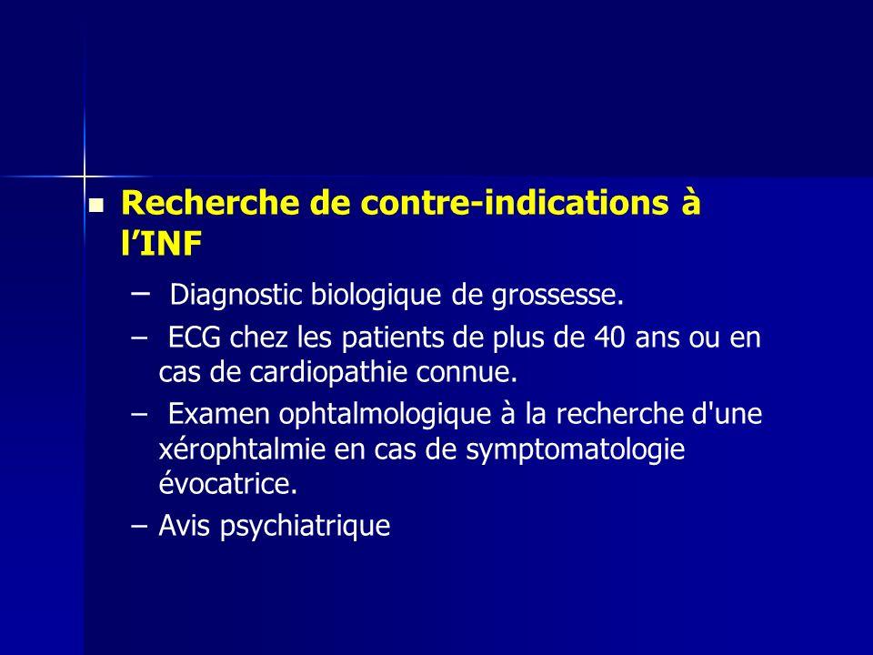 Recherche de contre-indications à lINF – – Diagnostic biologique de grossesse. – – ECG chez les patients de plus de 40 ans ou en cas de cardiopathie c