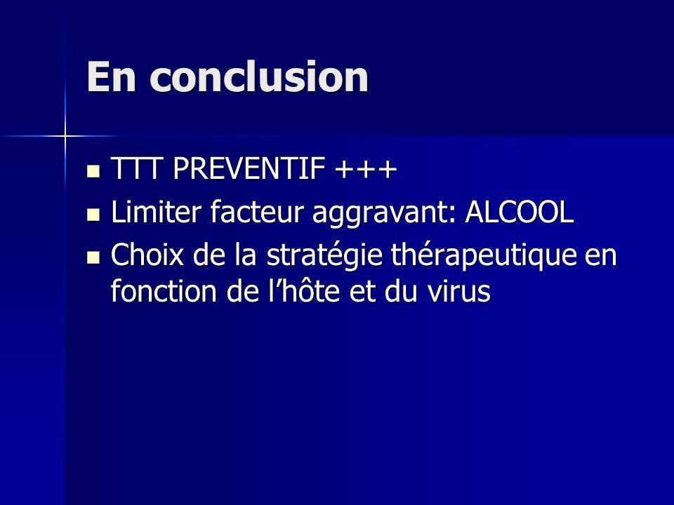 En conclusion TTT PREVENTIF +++ TTT PREVENTIF +++ Limiter facteur aggravant: ALCOOL Limiter facteur aggravant: ALCOOL Choix de la stratégie thérapeutique en fonction de lhôte et du virus Choix de la stratégie thérapeutique en fonction de lhôte et du virus