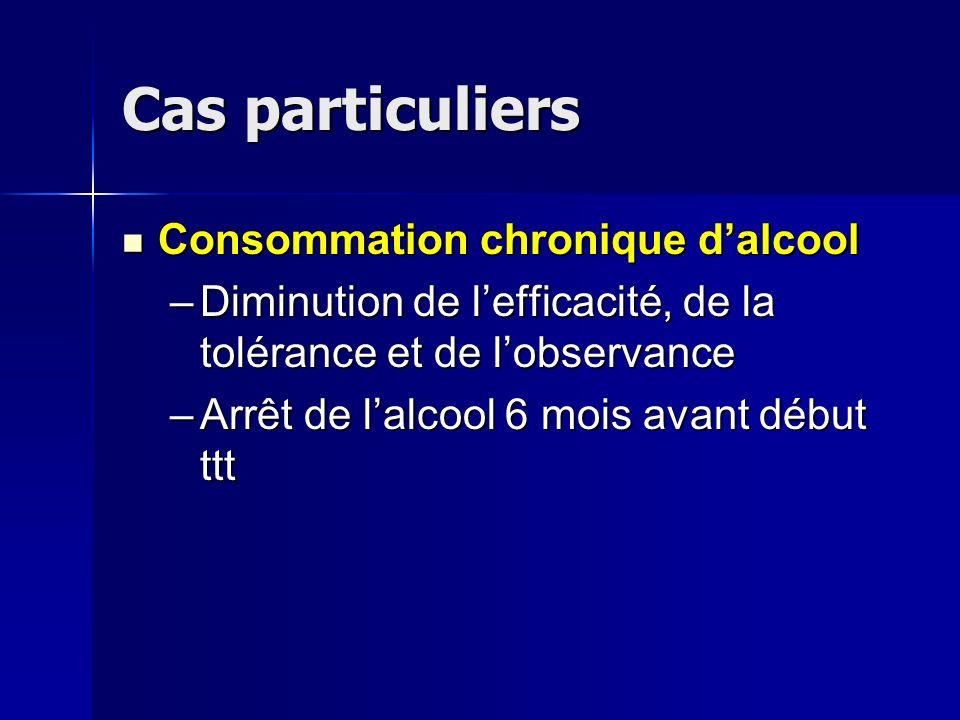 Cas particuliers Consommation chronique dalcool Consommation chronique dalcool –Diminution de lefficacité, de la tolérance et de lobservance –Arrêt de