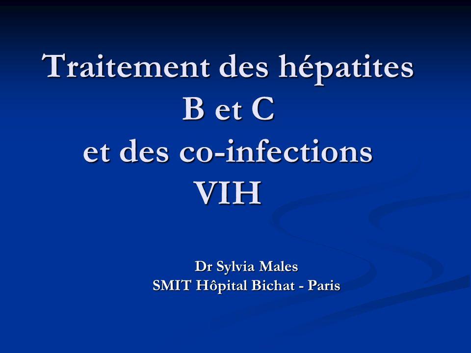 Indications du traitement: sévérité de la maladie hépatique Ponction biopsie hépatique : PBH +++ Ponction biopsie hépatique : PBH +++ Score METAVIR: activité (A0-> A3) et fibrose (F0-> F4) Score METAVIR: activité (A0-> A3) et fibrose (F0-> F4) Traitement recommandé si >A2 et/ou F2 Traitement recommandé si >A2 et/ou F2 Transaminases: mauvaise corrélation entre transa et degré des lésions hépatiques Transaminases: mauvaise corrélation entre transa et degré des lésions hépatiques ADN VHB >20 000 IU/ml pour les patients AgHBe positif et >2000 IU/ml les patients AgHBe negatif