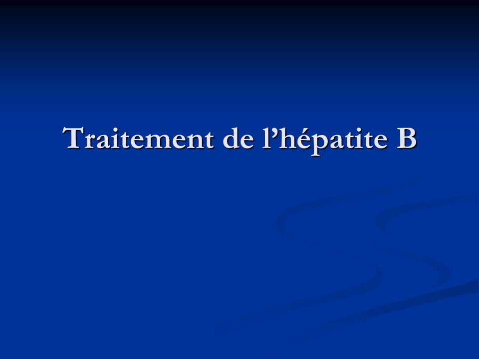 Choix du traitement Selon la Selon la forme dhépatite chronique B (AgHBe+ ou AgHBe-), lefficacité, les chances de réponse, le risque de résistance, la tolérance, le coût, le terrain..