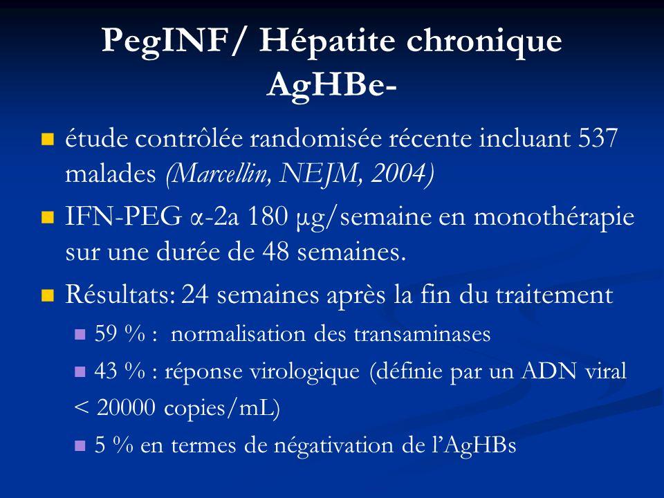 PegINF/ Hépatite chronique AgHBe- étude contrôlée randomisée récente incluant 537 malades (Marcellin, NEJM, 2004) IFN-PEG α-2a 180 μg/semaine en monot