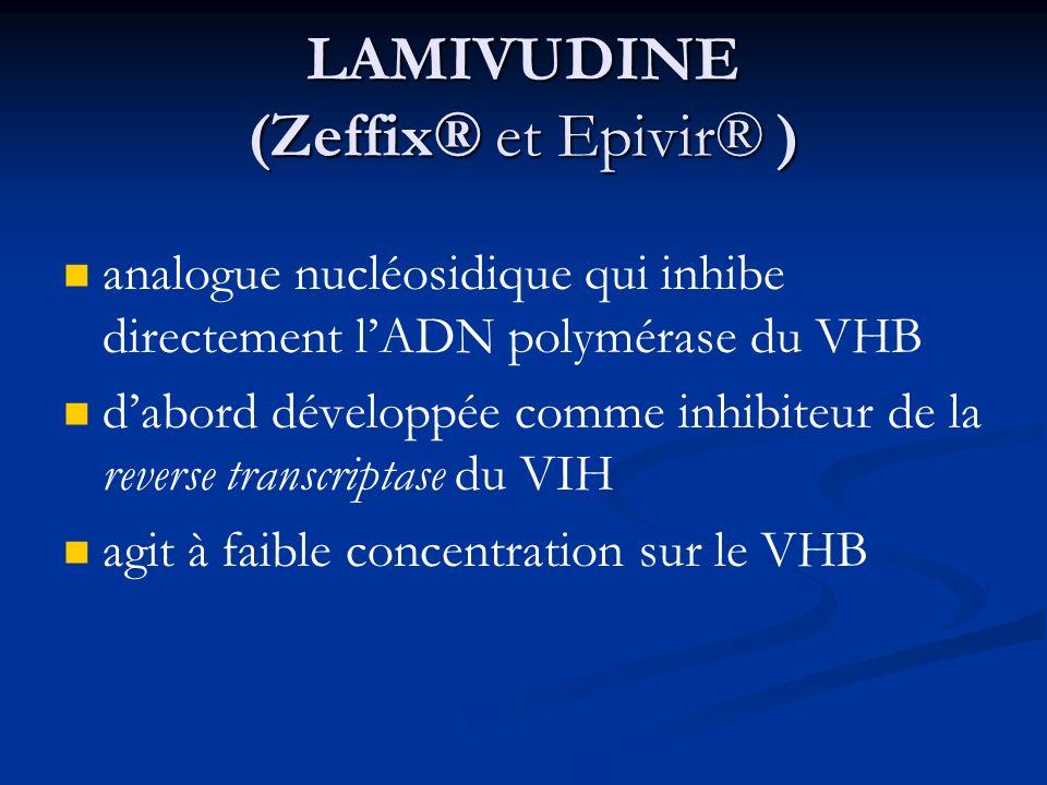 LAMIVUDINE (Zeffix® et Epivir® ) analogue nucléosidique qui inhibe directement lADN polymérase du VHB dabord développée comme inhibiteur de la reverse