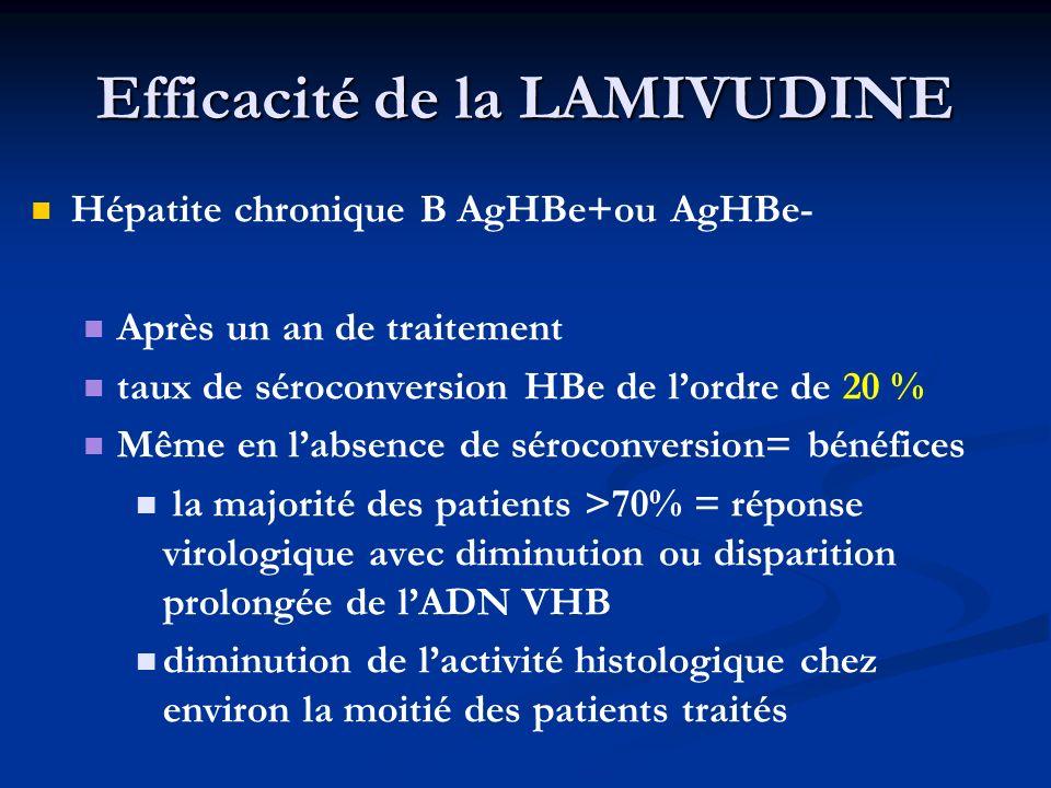 Efficacité de la LAMIVUDINE Hépatite chronique B AgHBe+ou AgHBe- Après un an de traitement taux de séroconversion HBe de lordre de 20 % Même en labsen
