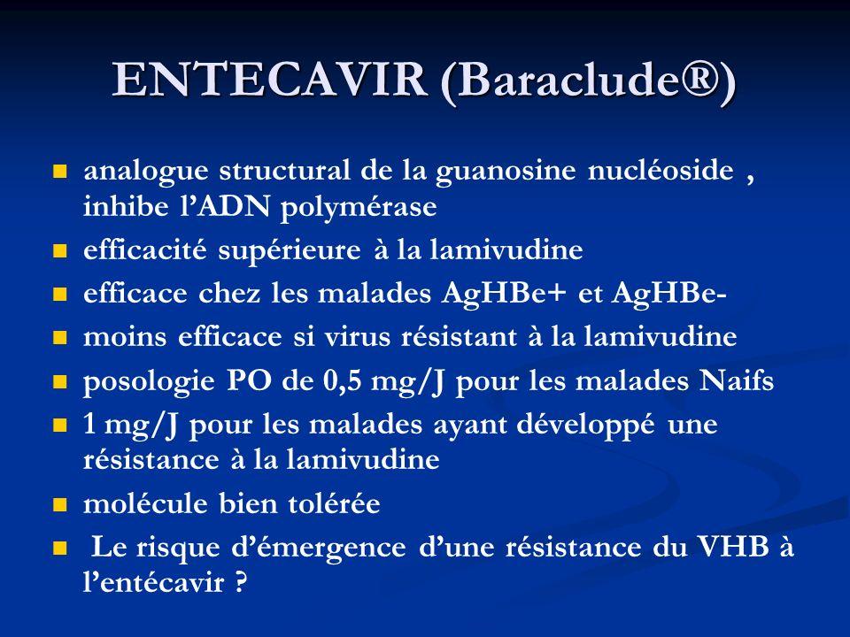 ENTECAVIR (Baraclude®) analogue structural de la guanosine nucléoside, inhibe lADN polymérase efficacité supérieure à la lamivudine efficace chez les