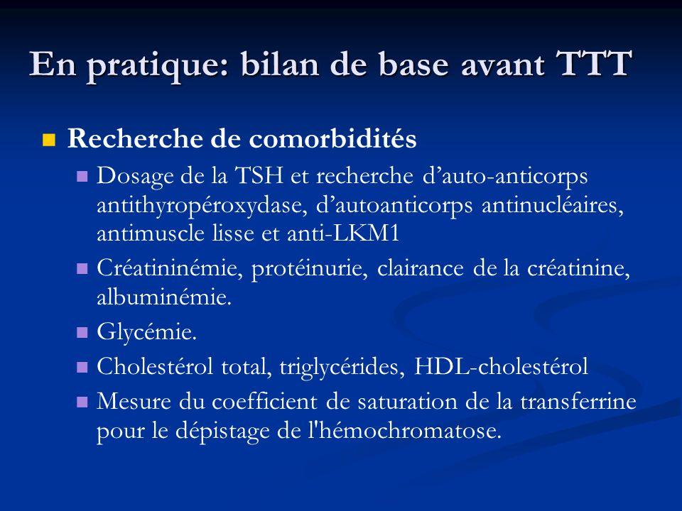 En pratique: bilan de base avant TTT Recherche de comorbidités Dosage de la TSH et recherche dauto-anticorps antithyropéroxydase, dautoanticorps antin