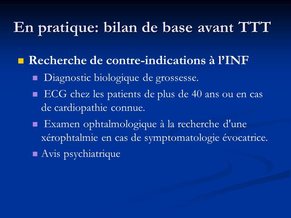 En pratique: bilan de base avant TTT Recherche de contre-indications à lINF Diagnostic biologique de grossesse. ECG chez les patients de plus de 40 an