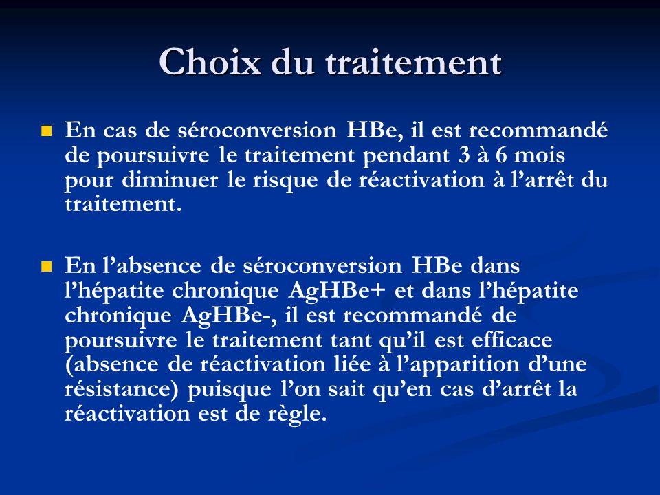 Choix du traitement En cas de séroconversion HBe, il est recommandé de poursuivre le traitement pendant 3 à 6 mois pour diminuer le risque de réactiva