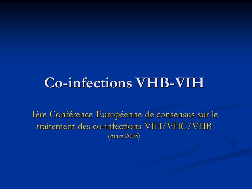 Co-infections VHB-VIH 1ère Conférence Européenne de consensus sur le traitement des co-infections VIH/VHC/VHB (mars 2005)