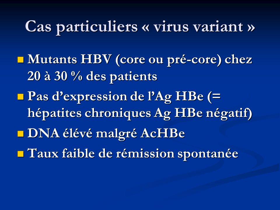 Cas particuliers « virus variant » Mutants HBV (core ou pré-core) chez 20 à 30 % des patients Mutants HBV (core ou pré-core) chez 20 à 30 % des patien