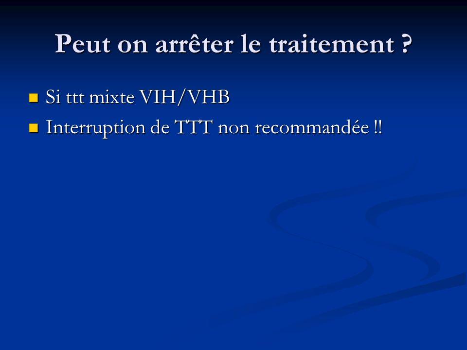 Peut on arrêter le traitement ? Si ttt mixte VIH/VHB Si ttt mixte VIH/VHB Interruption de TTT non recommandée !! Interruption de TTT non recommandée !