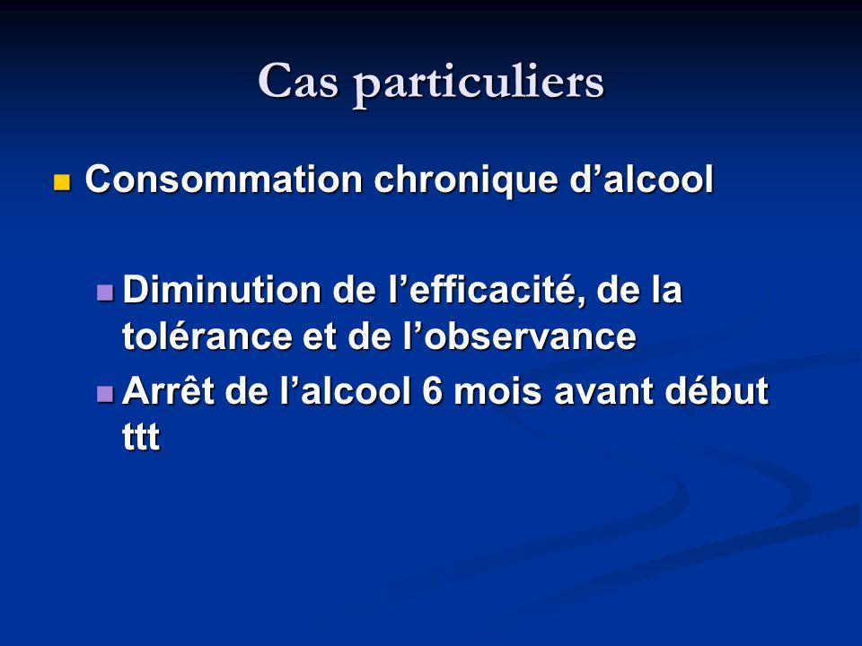 Cas particuliers Consommation chronique dalcool Consommation chronique dalcool Diminution de lefficacité, de la tolérance et de lobservance Diminution