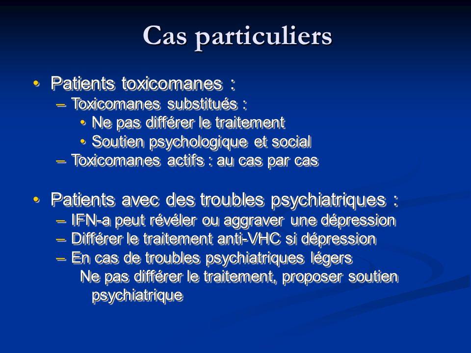 Cas particuliers Patients toxicomanes :Patients toxicomanes : –Toxicomanes substitués : Ne pas différer le traitementNe pas différer le traitement Sou