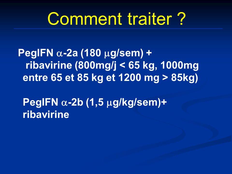 Comment traiter ? PegIFN -2a (180 g/sem) + ribavirine (800mg/j 85kg) PegIFN -2b (1,5 g/kg/sem)+ ribavirine