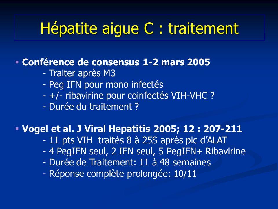 Conférence de consensus 1-2 mars 2005 - Traiter après M3 - Peg IFN pour mono infectés - +/- ribavirine pour coinfectés VIH-VHC ? - Durée du traitement