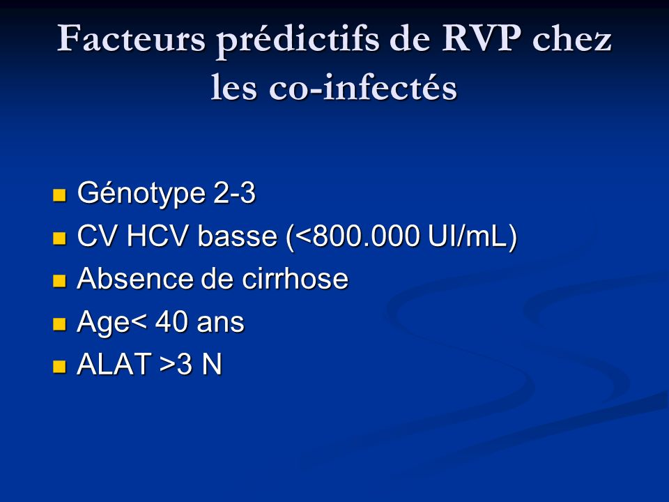 Facteurs prédictifs de RVP chez les co-infectés Génotype 2-3 Génotype 2-3 CV HCV basse (<800.000 UI/mL) CV HCV basse (<800.000 UI/mL) Absence de cirrh