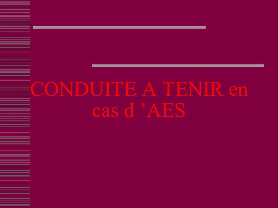 CONDUITE A TENIR en cas d AES