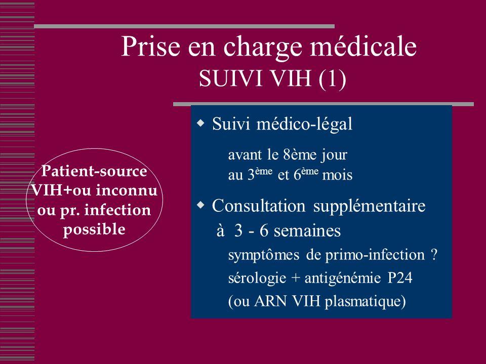 Prise en charge médicale SUIVI VIH (1) Suivi médico-légal avant le 8ème jour au 3 ème et 6 ème mois Consultation supplémentaire à 3 - 6 semaines symptômes de primo-infection .