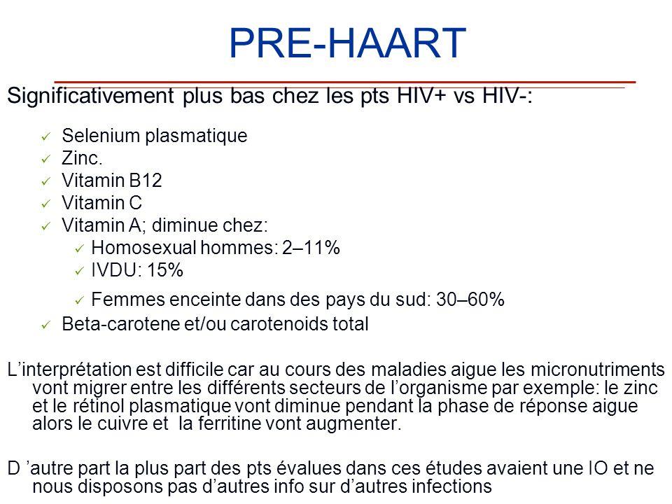 PRE-HAART Significativement plus bas chez les pts HIV+ vs HIV-: Selenium plasmatique Zinc. Vitamin B12 Vitamin C Vitamin A; diminue chez: Homosexual h