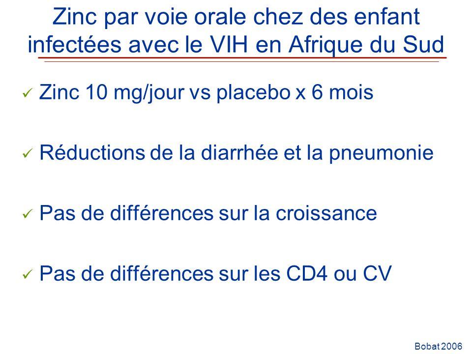 Zinc par voie orale chez des enfant infectées avec le VIH en Afrique du Sud Zinc 10 mg/jour vs placebo x 6 mois Réductions de la diarrhée et la pneumo