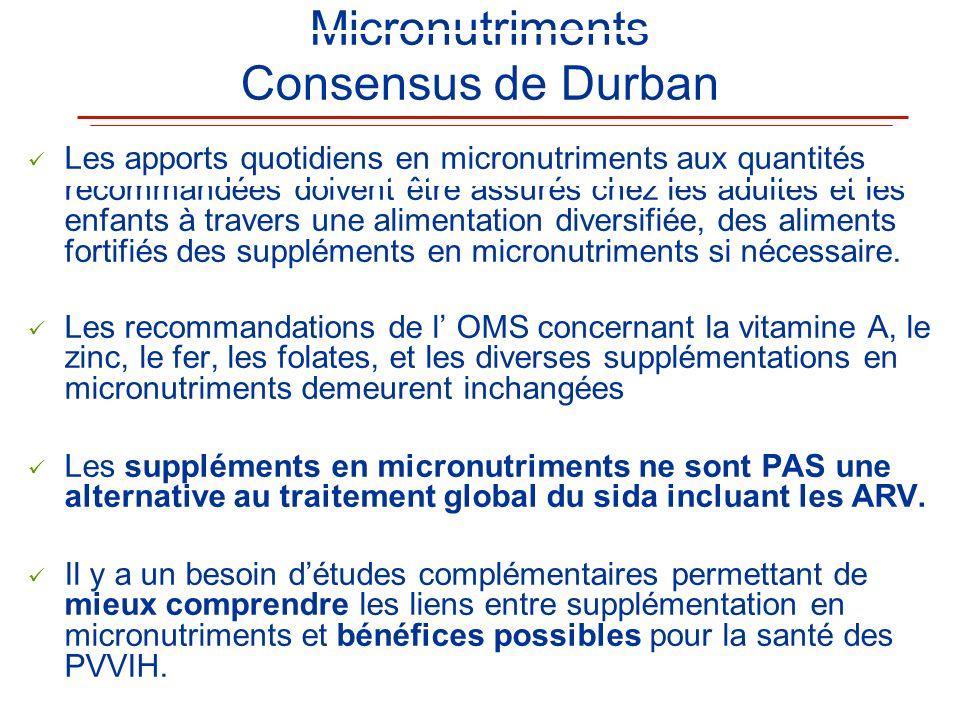 Micronutriments Consensus de Durban Les apports quotidiens en micronutriments aux quantités recommandées doivent être assurés chez les adultes et les