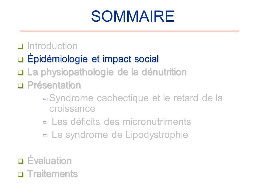 SOMMAIRE Introduction Épidémiologie et impact social Épidémiologie et impact social La physiopathologie de la dénutrition La physiopathologie de la dé