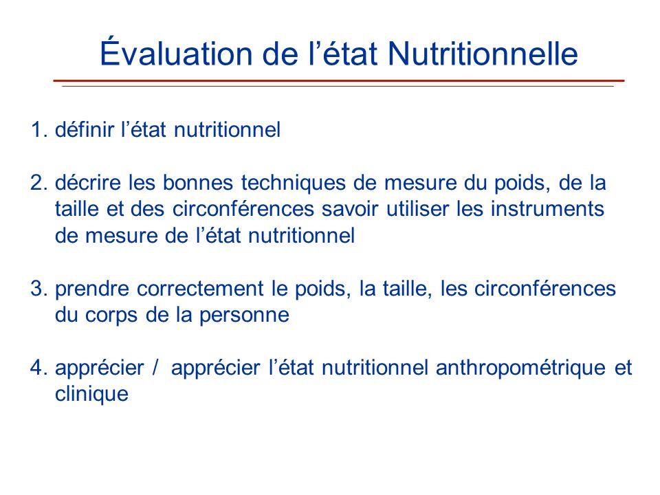 1.définir létat nutritionnel 2.décrire les bonnes techniques de mesure du poids, de la taille et des circonférences savoir utiliser les instruments de