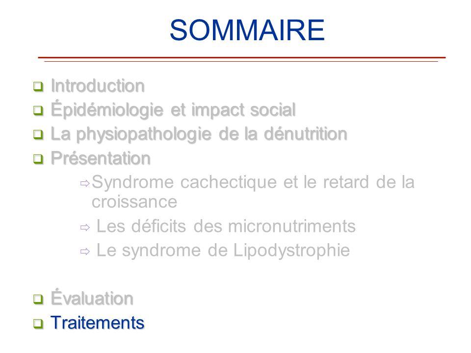 SOMMAIRE Introduction Introduction Épidémiologie et impact social Épidémiologie et impact social La physiopathologie de la dénutrition La physiopathol