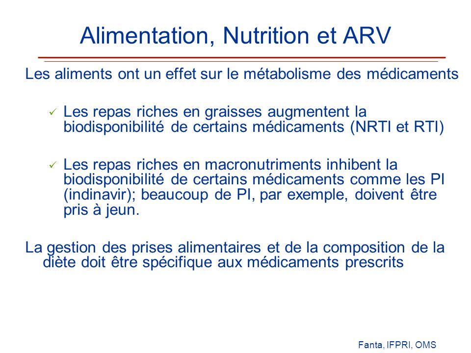 Alimentation, Nutrition et ARV Les aliments ont un effet sur le métabolisme des médicaments Les repas riches en graisses augmentent la biodisponibilit