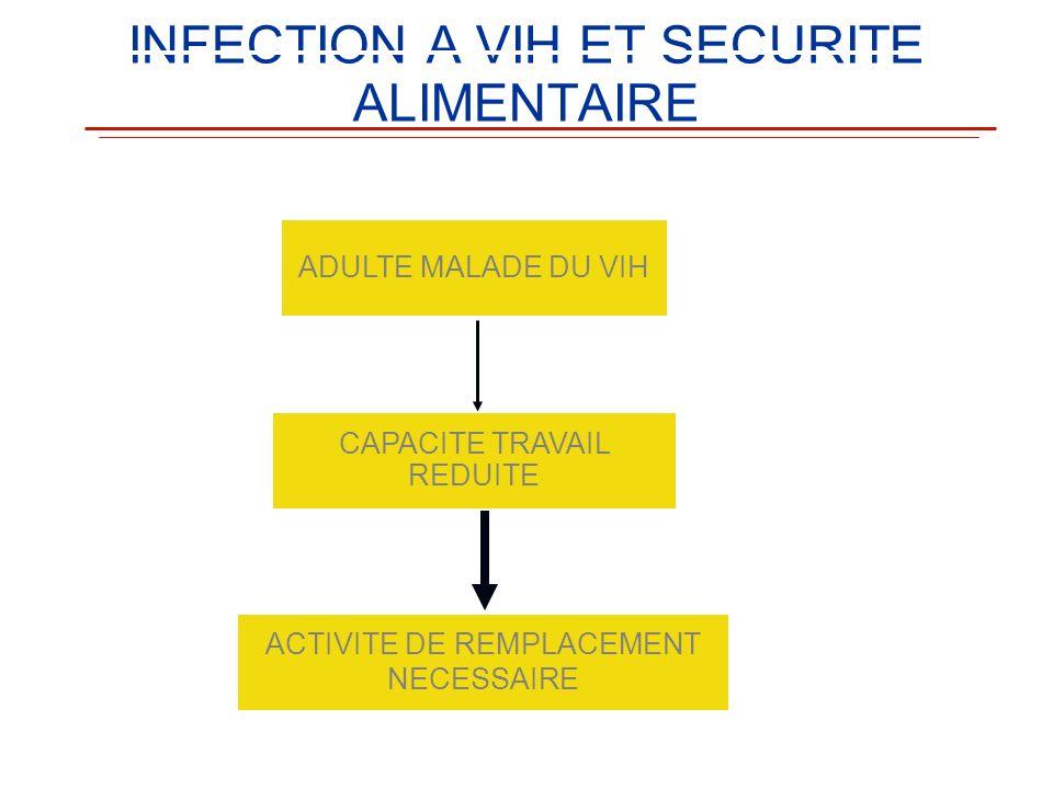 INFECTION A VIH ET SECURITE ALIMENTAIRE ADULTE MALADE DU VIH CAPACITE TRAVAIL REDUITE ACTIVITE DE REMPLACEMENT NECESSAIRE