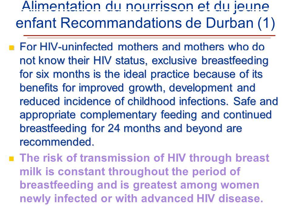 Alimentation du nourrisson et du jeune enfant Recommandations de Durban (1) For HIV-uninfected mothers and mothers who do not know their HIV status, e