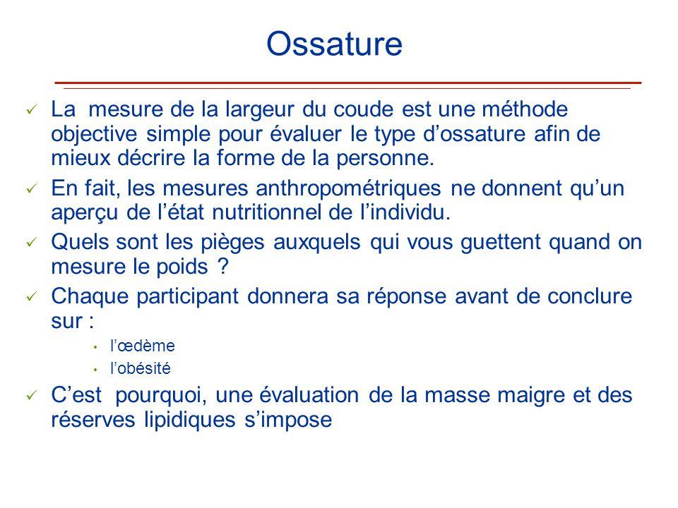 Ossature La mesure de la largeur du coude est une méthode objective simple pour évaluer le type dossature afin de mieux décrire la forme de la personn