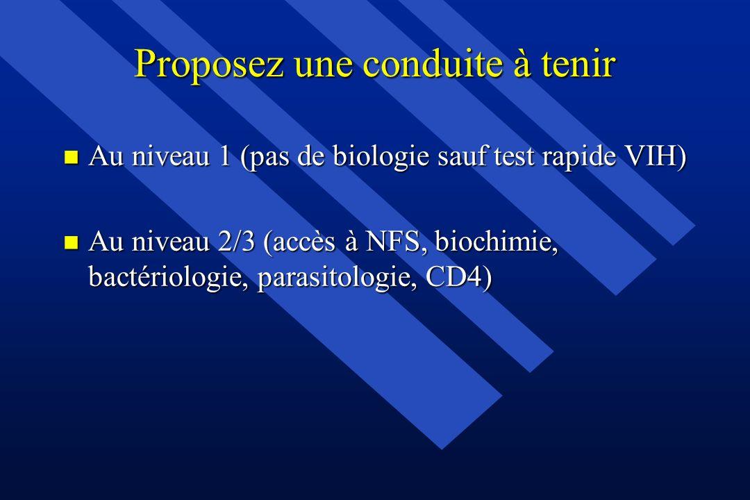 Proposez une conduite à tenir n Au niveau 1 (pas de biologie sauf test rapide VIH) n Au niveau 2/3 (accès à NFS, biochimie, bactériologie, parasitolog