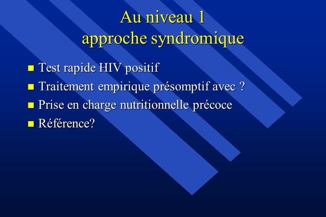 Au niveau 1 approche syndromique n Test rapide HIV positif n Traitement empirique présomptif avec ? n Prise en charge nutritionnelle précoce n Référen