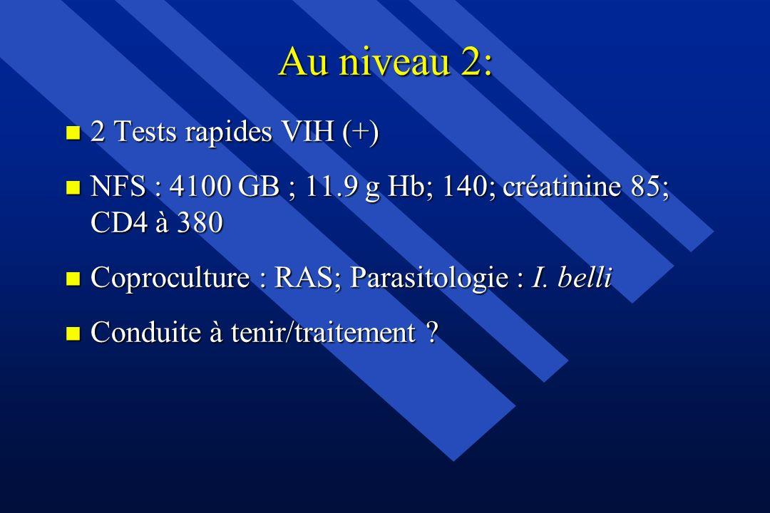 Au niveau 2: n 2 Tests rapides VIH (+) n NFS : 4100 GB ; 11.9 g Hb; 140; créatinine 85; CD4 à 380 n Coproculture : RAS; Parasitologie : I. belli n Con