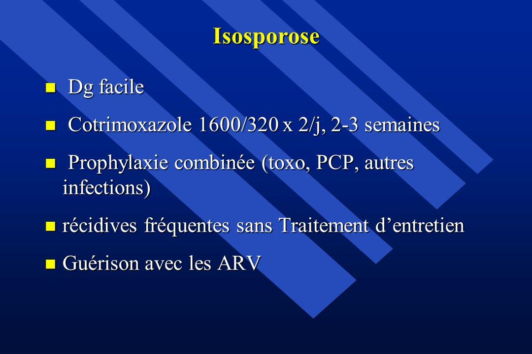 Isosporose n Dg facile n Cotrimoxazole 1600/320 x 2/j, 2-3 semaines n Prophylaxie combinée (toxo, PCP, autres infections) n récidives fréquentes sans