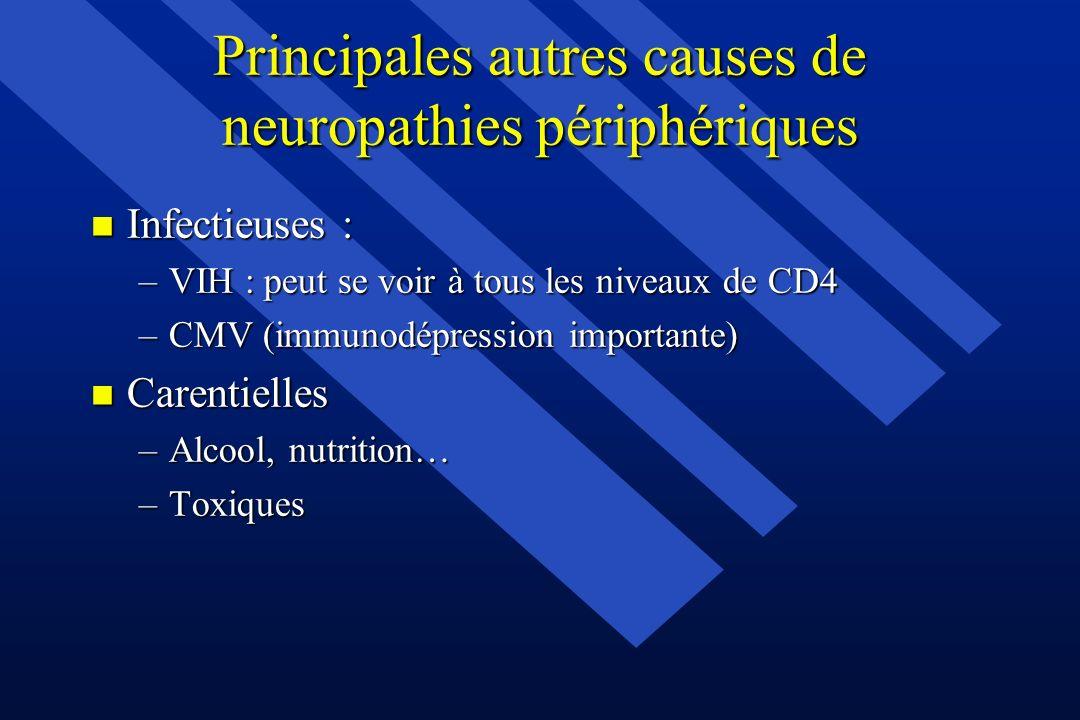 Principales autres causes de neuropathies périphériques n Infectieuses : –VIH : peut se voir à tous les niveaux de CD4 –CMV (immunodépression importan
