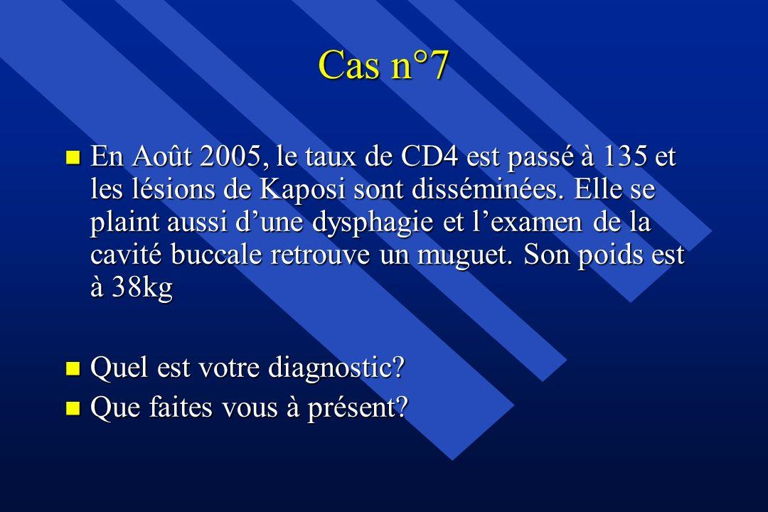 Cas n°7 n En Août 2005, le taux de CD4 est passé à 135 et les lésions de Kaposi sont disséminées. Elle se plaint aussi dune dysphagie et lexamen de la