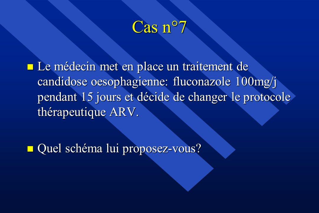 Cas n°7 n Le médecin met en place un traitement de candidose oesophagienne: fluconazole 100mg/j pendant 15 jours et décide de changer le protocole thé