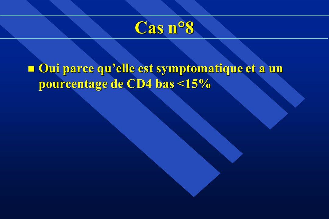 Cas n°8 n Oui parce quelle est symptomatique et a un pourcentage de CD4 bas <15%
