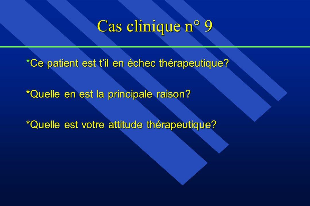 Cas clinique n° 9 *Ce patient est til en échec thérapeutique? *Quelle en est la principale raison? *Quelle est votre attitude thérapeutique?